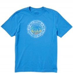 Life Is Good Short Sleeve T-Shirt - All Work No Play in Blue