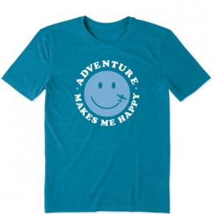 Life Is Good Short Sleeve T-Shirt - Adventure in Persian Blue