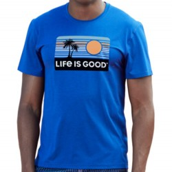 Life Is Good Short Sleeve T-Shirt - Retro Palm in Royal Blue