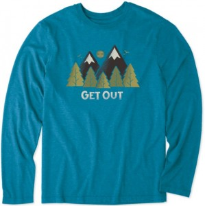 Life is Good Long Sleeve T-Shirt - Get Out in Persian Blue