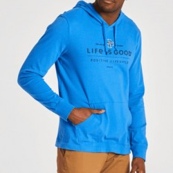 Life is Good Lightweight Hooded Pullover - Positive Lifestyle in Royal Blue