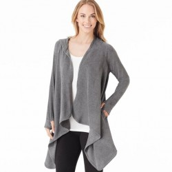 Cuddl Duds Hooded Fleece Wrap with Stretch - Charcoal