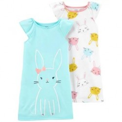 4 to 6X Girls Carters 2-Pack Bunny Nightgowns