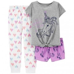 4 to 6X Girls Carters 3-Piece Unicorn Print Loose Fit Pajamas