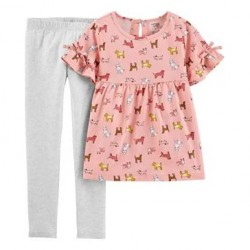 4 to 6X Girls Carters 2-Piece Dog and Flutter Sleeve Legging Set