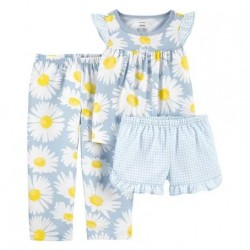 Toddler Girls Carters 3-Piece Daisy Print Loose Fit PJs