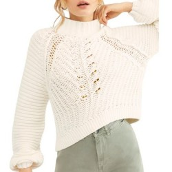 Free People Chunky Ribbed Knit Mock Neck Pullover Sweater - Ivory
