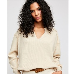 Free People Loose Fit Thermal V Neck Top - Vanilla