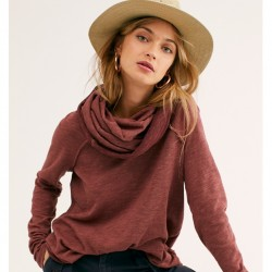 Free People Cowl Neck Pullover with Raw Seam Details - Terracotta