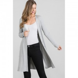 Ribbed Cardigan with Side Slits - Heather Grey