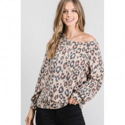 Animal Print Soft Knit Pullover Top - Camel