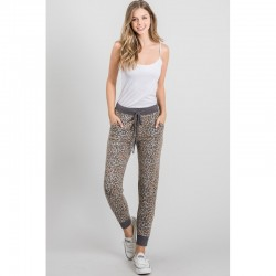 Animal Print Soft Knit Joggers - Taupe