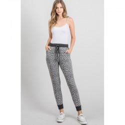 Animal Print Soft Knit Joggers - Heather Grey
