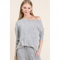Soft Knit Pullover Top with Drop Shoulders and Side Slits - Heather Grey