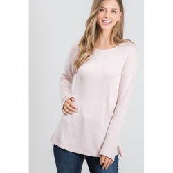 Soft Knit Pullover Top with Drop Shoulders and Side Slits - Taupe