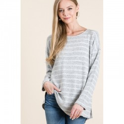 Soft Knit Pullover Top with Drop Shoulders and Side Slits - Stripe