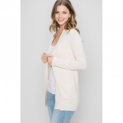 Open Cardigan with Front Pockets and Ribbed Trim - Oatmeal