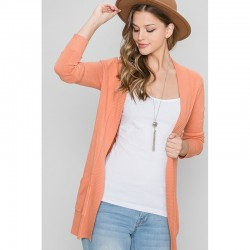Open Cardigan with Front Pockets and Ribbed Trim - Apricot
