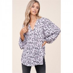 Leopard Print V-Neck Balloon Sleeve Woven Top - Ivory/Blush