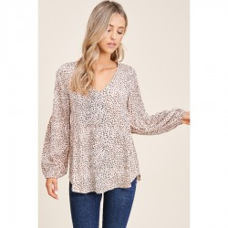 Leopard Print V-Neck Tunic Woven Top - Light Taupe