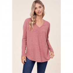 Solid Brushed Knit V-Neck Knit Top - Rust