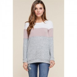 Crewneck Brushed Knit Top with Color Blocking - Heather Grey/Mauve