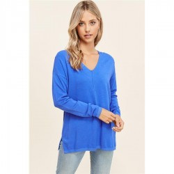 Solid Super Soft V-Neck Pullover Sweater with Center Seam - Royal