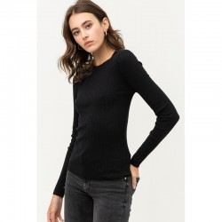 Ribbed Round Neck Fitted Crewneck Sweater - Black