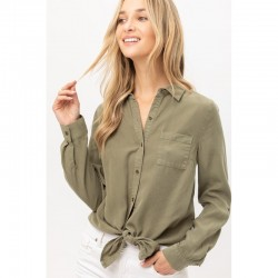 Relaxed Fit Button Front Shirt with Chest Pocket and Tie Hem - Olive