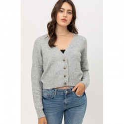 Solid Napped Yarn Button Down V-Neck Cardigan - Heather Grey