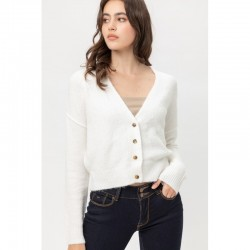 Solid Napped Yarn Button Down V-Neck Cardigan - Ivory