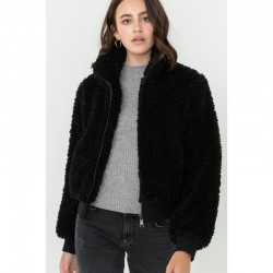 Sherpa Fur Zip Front Jacket with Ribbed Trim - Black