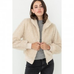 Sherpa Fur Zip Front Jacket with Ribbed Trim - Cream
