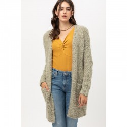 Ultra Soft Small Popcorn Eyelash Knitted Open Front Cardigan Sweater - Moss