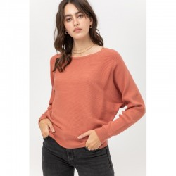 Ribbed Wide Neck Dolman Sleeve Sweater - Terracotta