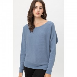 Ribbed Wide Neck Dolman Sleeve Sweater - Blue Stone