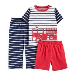 Toddler Boys Carters 3-Piece Fire Truck Loose Fit PJs