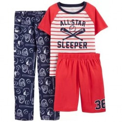 4 to 7 Boys Carters 3-Piece Baseball Loose Fit PJs