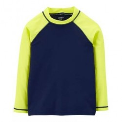 4 to 7 Boys Carters Colorblock Rashguard in Navy/Yellow