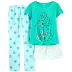 4 to 6X Girls Carters 3-Piece Loose Fit Mermaid PJs