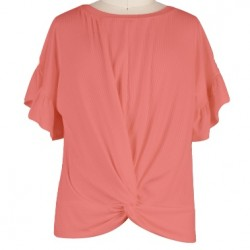 7 to 16 Girls Light Coral Tie Front Rayon Tee