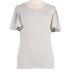 7 to 16 Girls Heather Grey Soft Rayon Flutter Sleeve Tee