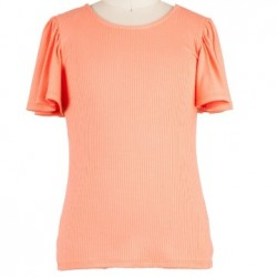 7 to 16 Girls Coral Soft Rayon Flutter Sleeve Tee