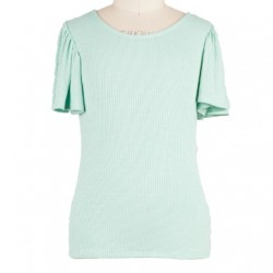 7 to 16 Girls Green Soft Rayon Flutter Sleeve Tee