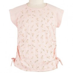 7 to 16 Girls Short Sleeve Printed Floral Tee - Blush Pink/Coral
