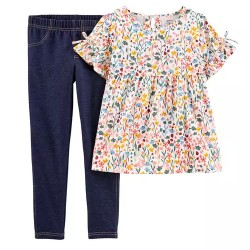4 to 6X Girls Carters 2-Piece Floral Flutter Tee & Jegging Set