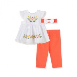 Infant Girl Floral Embroidery Woven Tunic 3-Piece Set