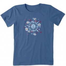 Life is Good Short Sleeve Crew Tee - Beauty in All Directions Compass in Vintage Blue