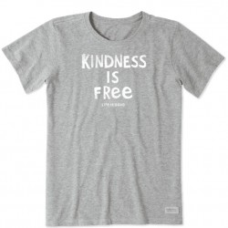 Life is Good Short Sleeve Crew Tee - Kindness is Free in Heather Grey