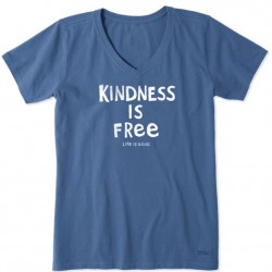 Life is Good Short Sleeve Crusher Vee T - Kindness is Free in Vintage Blue